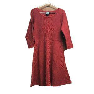 Gabby Skye Women Sweater Dress Red Scoop Neck L